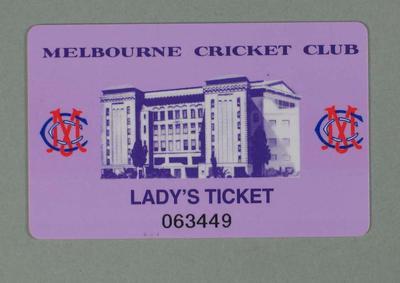 Lady's membership swipe card issued by the MCC