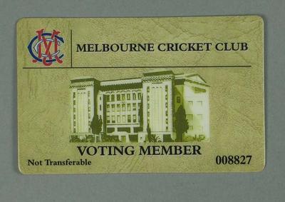 Full membership swipe card issued by the MCC