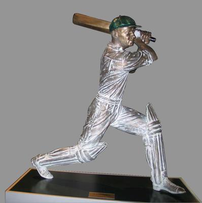 """Statue of Sir Donald Bradman, """"Cover Drive"""" by Mitch Mitchell"""