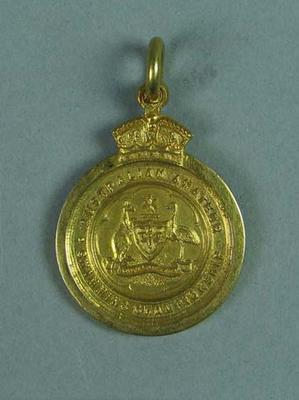 Gold medal won by Ivan Stedman, 100 yards Championship of Australia 1921