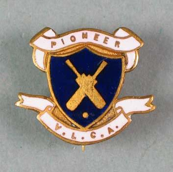 Badge featuring the logo of Pioneer Victorian Ladies Cricket Association