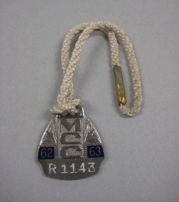 Melbourne Cricket Club Medallion, 1962/63, with white lanyard; Trophies and awards; M15851.1