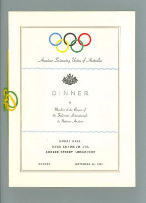Dinner Menu, Amateur Swimming Union of Australia, Monday 26 November 1956 with autographs on reverse; Documents and books; 1986.1269.1