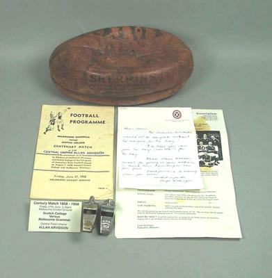 Items belonging Allan Arvidson re. Centenary Match 1858-1958, Scotch College v Melbourne Grammar at MCG on 27 June 1958; Trophies and awards; Documents and books; Sporting equipment; Documents and books; Documents and books; 1997.3298