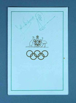 Programme for The Olympians Club Annual Dinner, 21 Nov 1987