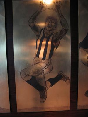 Etched brass plate - unidentified Collingwood footballer - artist Daniel Moynihan