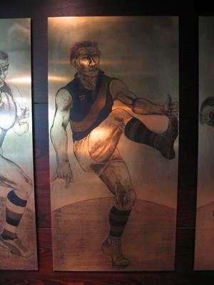 Etched brass plate - unidentified Essendon footballer - artist Daniel Moynihan