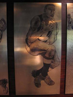 Etched brass plate - unidentified Fremantle footballer - artist Daniel Moynihan