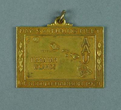 Gold medal won by Ivan Stedman, 200 yards breast stroke AAU May Swimming Meet - Honolulu Harbour, 28 May 1921