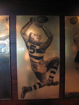 Etched brass plate - unidentified Geelong footballer - artist Daniel Moynihan