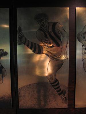 Etched brass plate - unidentified Hawthorn footballer - artist Daniel Moynihan