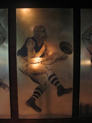 Etched brass plate - unidentified Richmond footballer - artist Daniel Moynihan