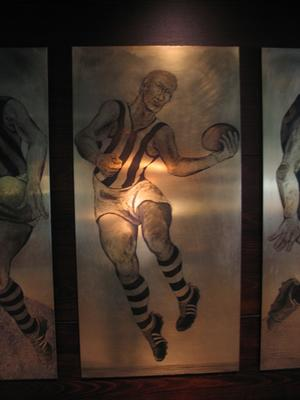 Etched brass plate - unidentified North Melbourne footballer - artist Daniel Moynihan