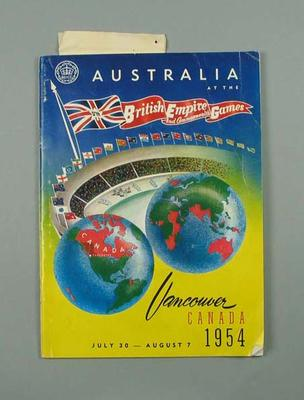 Booklet - Australia at the Vth British Empire & Commonwealth Games Canada,  30 July - 7 August 1954 - Glyn Bosisto referenced