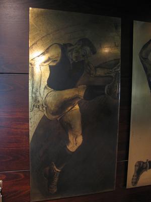 Etched brass plate - unidentified  Melbourne footballer - artist Daniel Moynihan