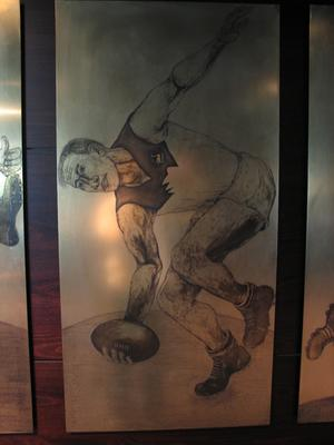 Etched brass plate - unidentified Sydney footballer - artist Daniel Moynihan