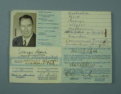 Identification Card No. 05423 for George Moir, 1952 Helsinki Olympic Games