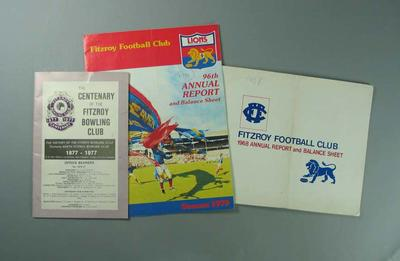 Fitzroy FC Annual Reports, 1968-86; Documents and books; Documents and books; 1988.1911.7