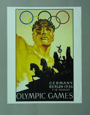 Poster, 1936 Berlin Olympic Games; Documents and books; 1996.3203.15