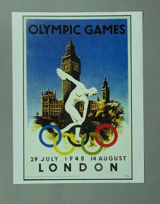 Poster, 1948 London Olympic Games; Documents and books; 1996.3203.14