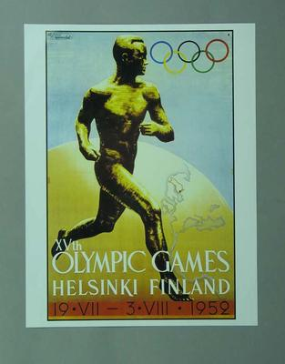 Poster, 1952 Helsinki Olympic Games; Documents and books; 1996.3203.13