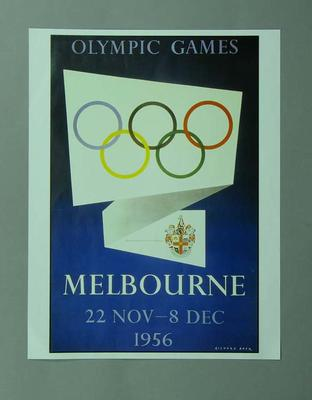 Poster, 1956 Melbourne Olympic Games; Documents and books; 1996.3203.12