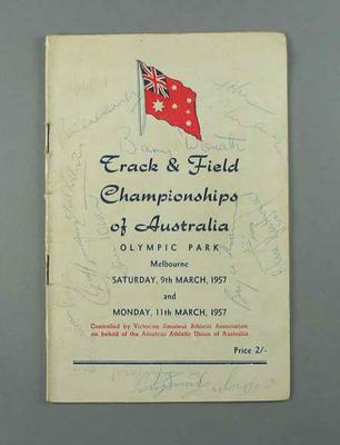 Programme - Track & Field Championships of Australia,  March 1957; Documents and books; 1993.2935.6