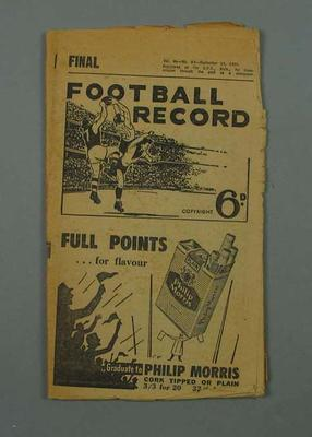 Booklet - Final Football Record, Vol. 46, No. 29, 14 September 1957