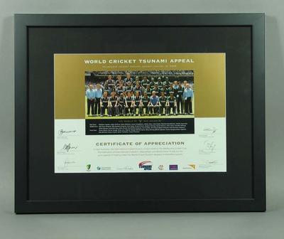 World Cricket Tsunami Appeal Certificate of Appreciation