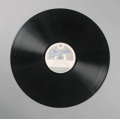 Vinyl record of Amalgamated Wireless Bendigo Thousand broadcast, 1951