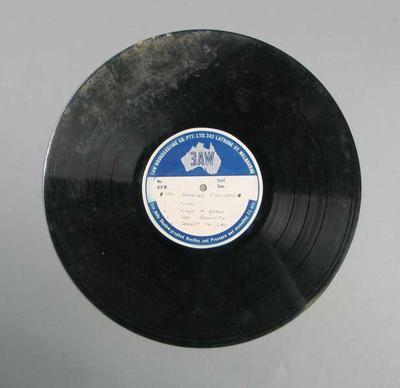 Vinyl record of 3AW Bendigo Thousand broadcast, 1951