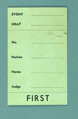 1956 Olympic Games event scorecard