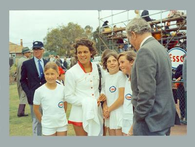 Photograph of Evonne Goolagong with ball girls and coach Vic Edwards; Photography; 1993.2941.2
