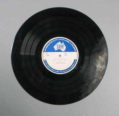 Vinyl record of 3AW Bendigo Thousand broadcast, 1952