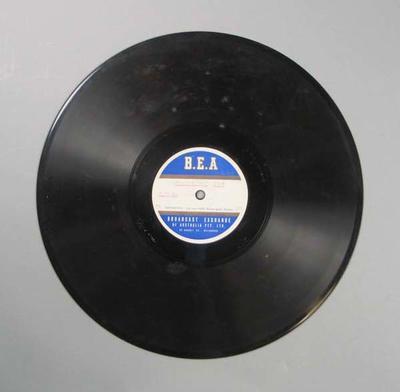 Vinyl record of Broadcast Exchange of Australia Bendigo Thousand broadcast, 1947