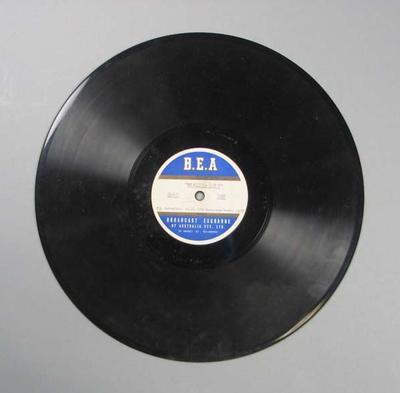 Vinyl record of Broadcast Exchange of Australia Bendigo Thousand broadcast, 1950