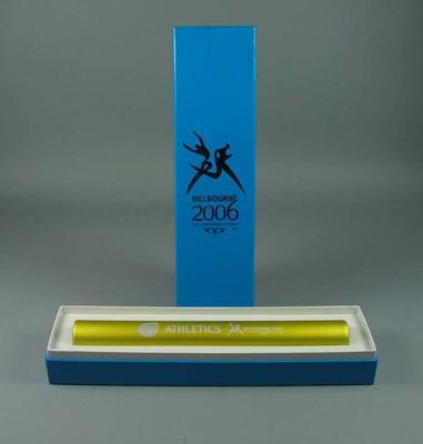 Baton - yellow Athletics  baton, 2006 Melbourne Commonwealth Games