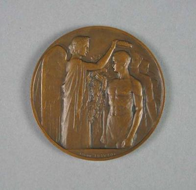 1924 Olympic Games bronze participation medallion, presented to Frank Beaurepaire