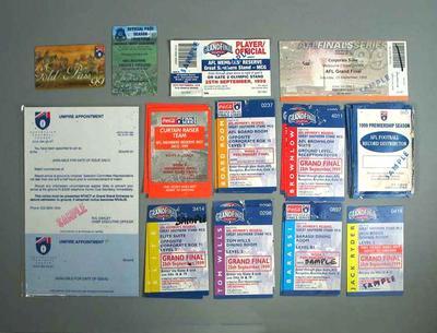 Ticket samples, 1999 Football Final & 1999/2000 Cricket Season