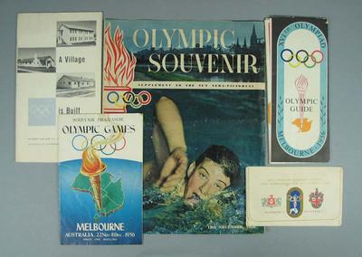 Publications and tickets relating to 1956 Melbourne Olympic Games; Documents and books; Documents and books; Documents and books; 1993.2958