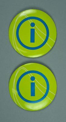 Badges - green ' i ' badges 'Team 2006', Commonwealth Games Melbourne