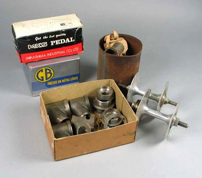 Group of assorted bicycle parts believed to be part of the Robert Pearson Collection