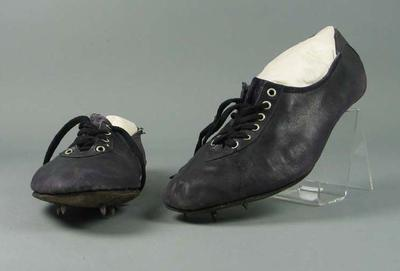 Pair of leather running shoes, made by Hope Sweeney c1955