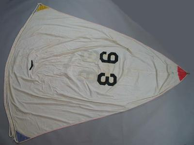 Cadet Dinghy, Large white spinnaker, Sail No: 93.  made by Rolly Tasker
