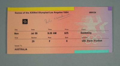Ticket for 1984 Olympic Games swimming events, 30 July; Documents and books; 1991.2479.16