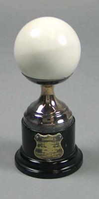 Trophy - mounted Bowls Jack - Australian Bowling Singles Championship 1949, winner Glyn Bosisto
