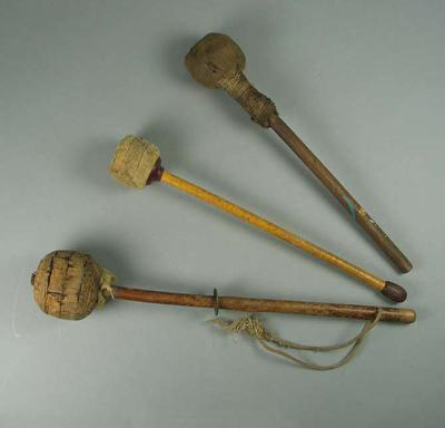 Three drum sticks, used on the Harry Johns Boxing Troupe drum