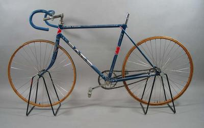 Blue racing bicycle - The Barb - used by Bob Finlay on tracks during 1920s,  restored by Rupert Bates