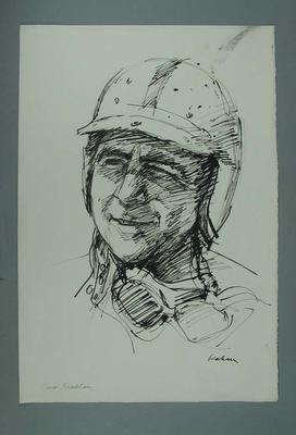 Drawing of Jack Brabham, by Louis Kahan; Artwork; 2006.5123