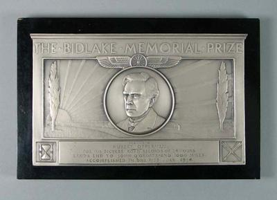 Plaque, The Bidlake Memorial Prize 1934
